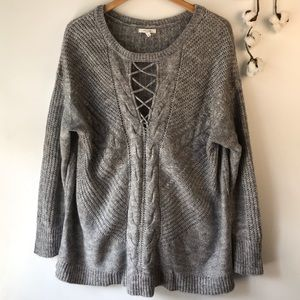 Maurices Gray Sweater Lace Up Style Front XL